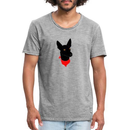 perro negro - Camiseta vintage hombre