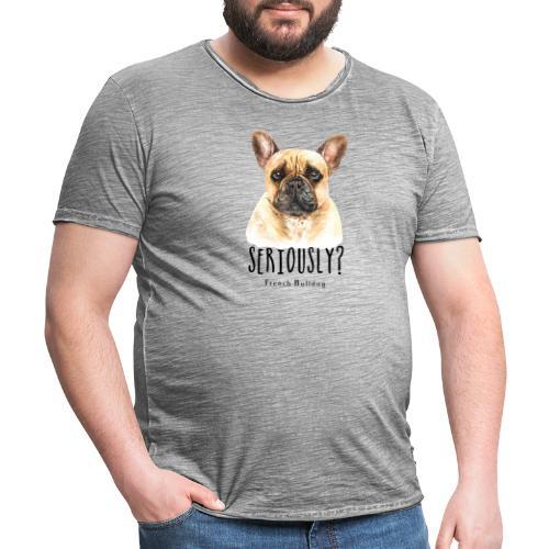 Grappige Franse Bulldog - Mannen Vintage T-shirt