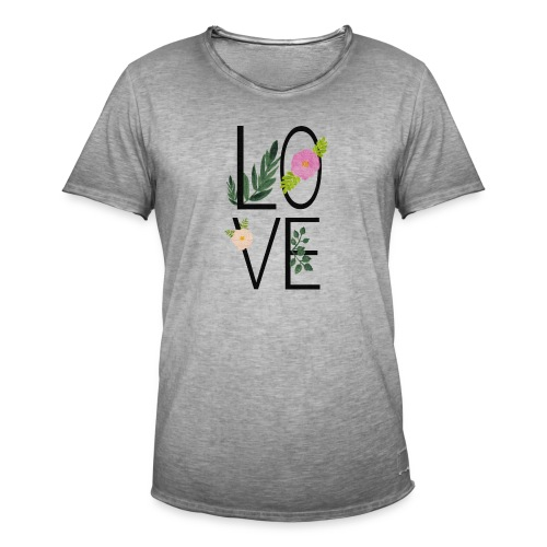 Love Sign with flowers - Men's Vintage T-Shirt
