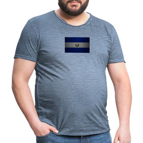 thumb2 flag of el salvador 4k leather texture nort - Camiseta vintage hombre