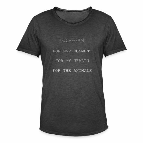 GO VEGAN Weiß - Männer Vintage T-Shirt