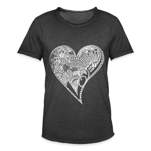 Heart white - Männer Vintage T-Shirt