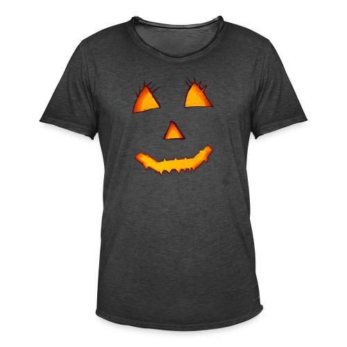 HALLOWEEN Gruselig lächelndes Kürbis Gesicht. - Männer Vintage T-Shirt