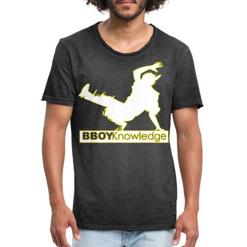 Bboy Knowledge Logo Yellow&White - T-shirt vintage Homme