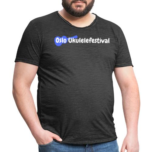 Oslo Ukulelefestival logo i hvitt og blått - Vintage-T-skjorte for menn