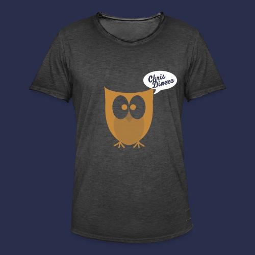 Eule mit weiß/blauen Logo - Männer Vintage T-Shirt