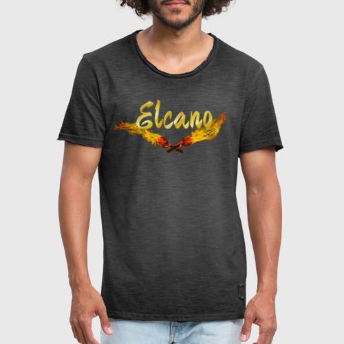 ELCANO Schriftzug mit Fackel - Männer Vintage T-Shirt