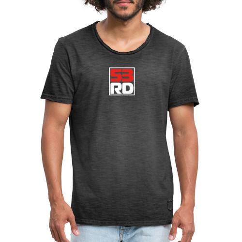 53RD Logo kompakt umrandet (weiss-rot) - Männer Vintage T-Shirt