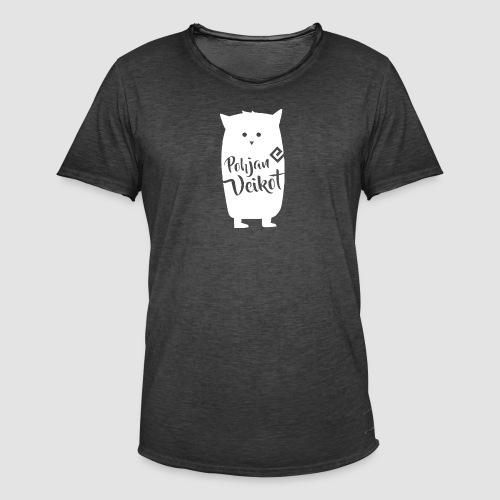 Veikko-pöllö valkoinen - Miesten vintage t-paita