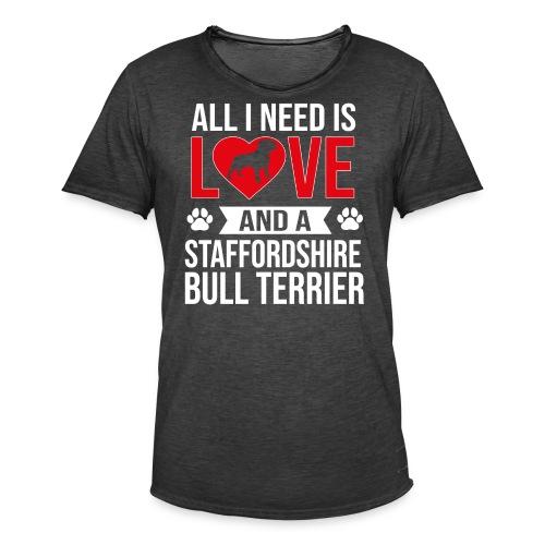 STAFFORDSHIRE BULLTERRIER-LOVE - Männer Vintage T-Shirt