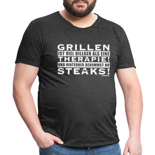 Grillen - Therapie - Steaks - Männer Vintage T-Shirt