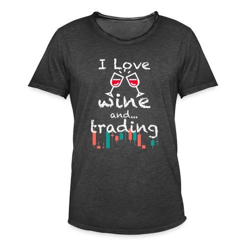 Trader Forex Wallstreet Stock market RedWine Glass - Maglietta vintage da uomo