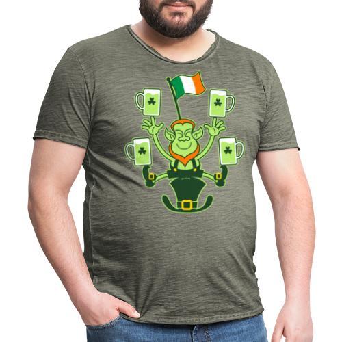 Leprechaun Juggling Beers and Irish Flag - Men's Vintage T-Shirt