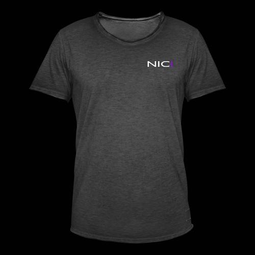 NICI logo WHITE - Miesten vintage t-paita