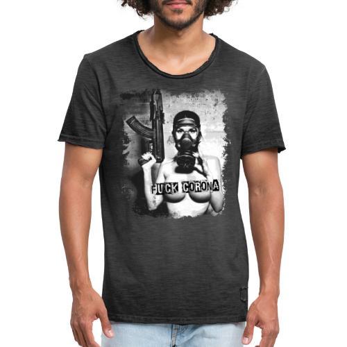masked girl with AK - FUCK CORONA - 4black clothes - Männer Vintage T-Shirt