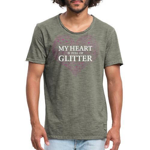 Herz Glitzer - Männer Vintage T-Shirt