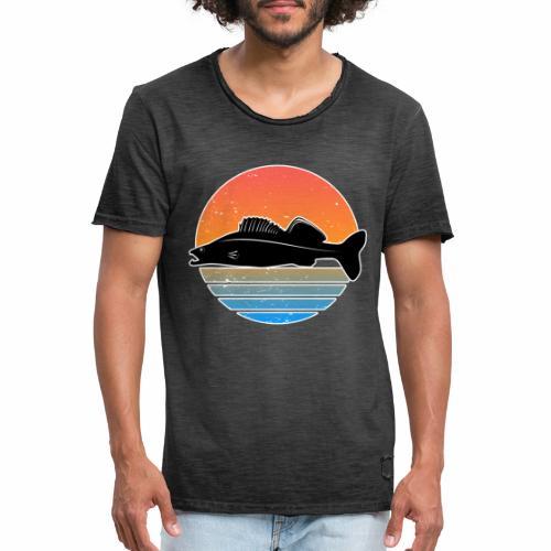 Retro Zander Angeln Fisch Wurm Raubfisch Shirt - Männer Vintage T-Shirt
