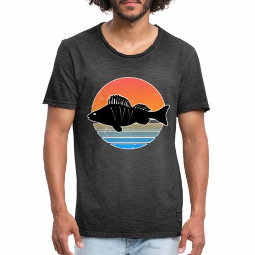 Retro Barsch Angeln Fisch Wurm Raubfisch Shirt - Männer Vintage T-Shirt
