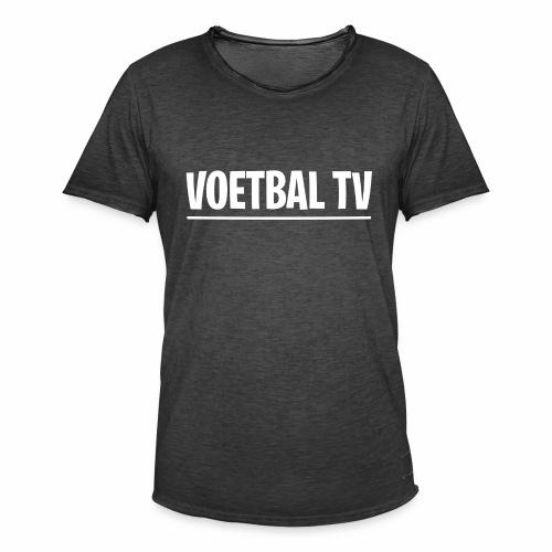voetbal tv shirt tekst wit 2 - Mannen Vintage T-shirt