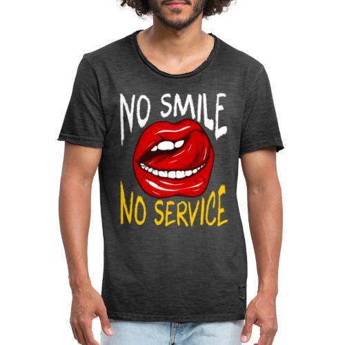 No Smile No Service - Vintage-T-shirt herr