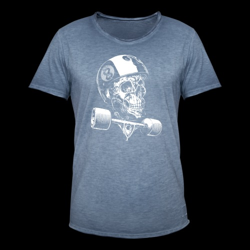 Skull Longboard Rider - negative print - T-shirt vintage Homme