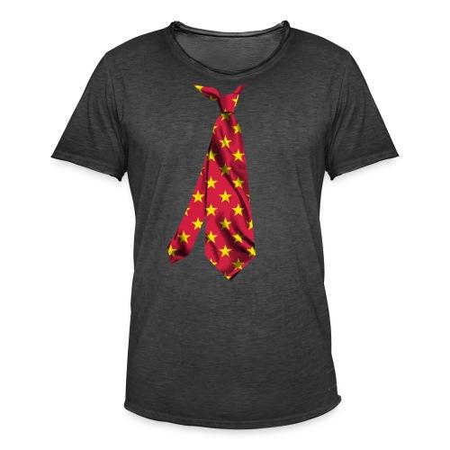 printed necktie yellow amish barn star - Maglietta vintage da uomo