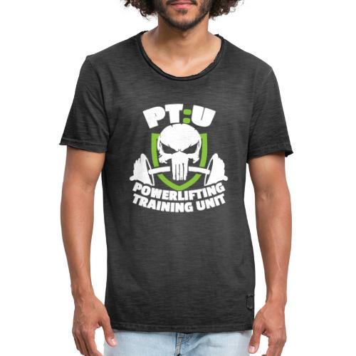 POWERLIFTING WHITE LOGO - Men's Vintage T-Shirt
