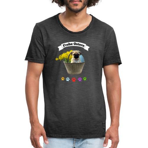 Frohe Ostern | Mops im Korb - Männer Vintage T-Shirt