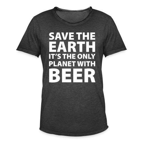 bear - sauve la terre - T-shirt vintage Homme