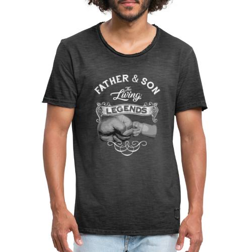 Father and Son The Living Legends Fistbump Vintage - Men's Vintage T-Shirt