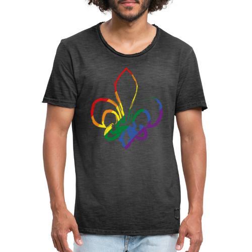 Pinselstrich Lilie Regebogenfahne - Männer Vintage T-Shirt