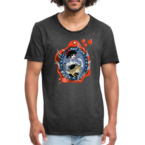 Sex, Cats and Rock & Roll - Männer Vintage T-Shirt