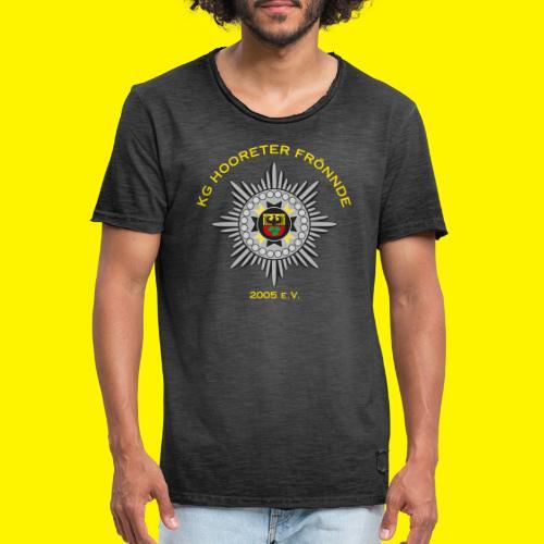 Gelbe Schrift - Männer Vintage T-Shirt