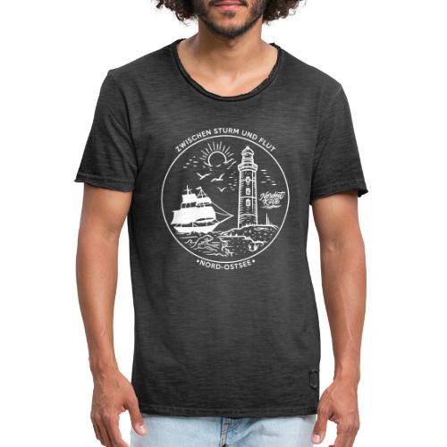 Schiff mit Leuchtturm - Männer Vintage T-Shirt