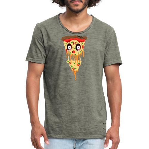 Schockierte Horror Pizza - Männer Vintage T-Shirt