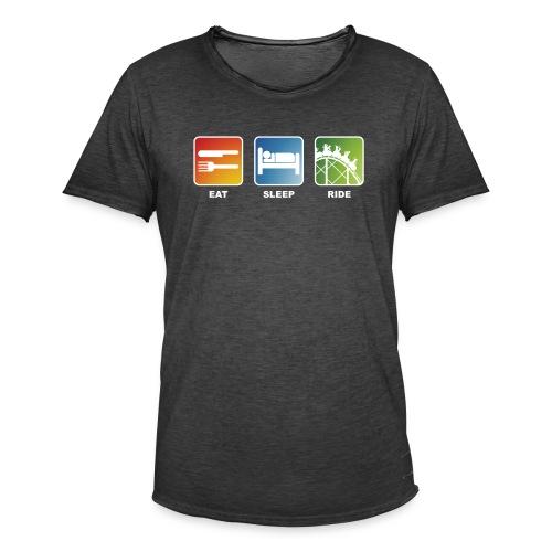 Eat, Sleep, Ride! - T-Shirt Schwarz - Männer Vintage T-Shirt
