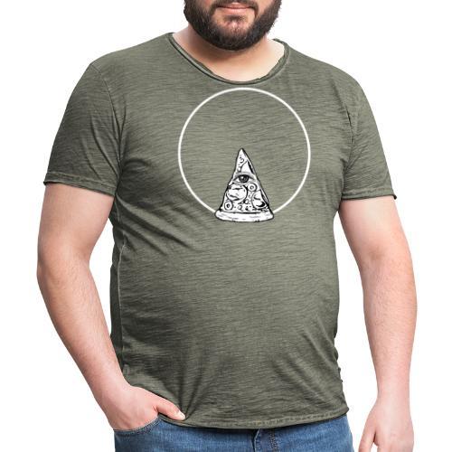 All sehendes Auge Pizza (weißer Druck) - Männer Vintage T-Shirt