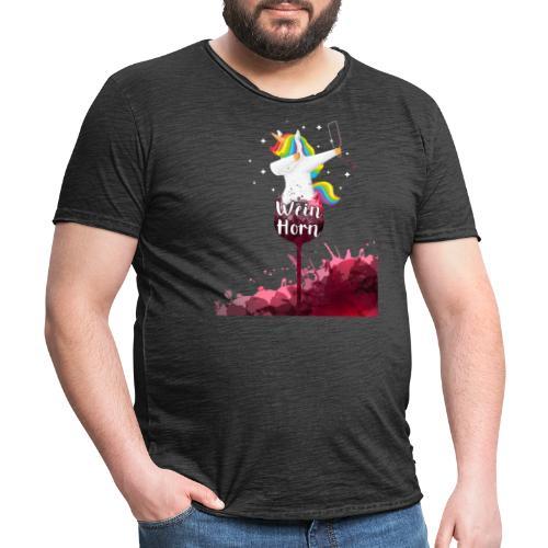 Weinhorn Splash Einhorn Design - Männer Vintage T-Shirt