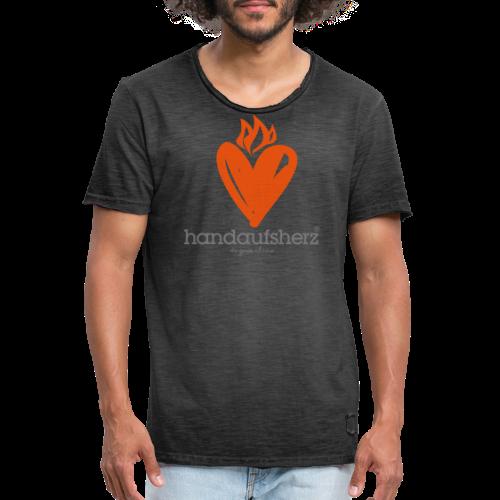 Hand aufs Herz - Männer Vintage T-Shirt