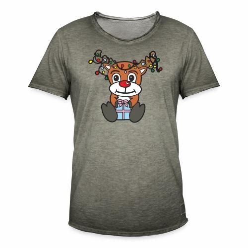 Rentier mit Lichterkette - Männer Vintage T-Shirt
