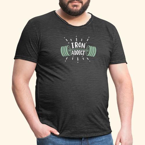 Funny Gym Shirt Iron Addict - Männer Vintage T-Shirt