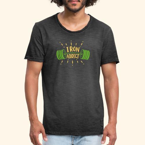 Langhantel Iron Addict Gym Shirt - Männer Vintage T-Shirt