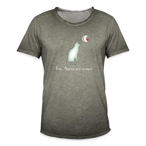 GATTO-E-LUNA - Maglietta vintage da uomo