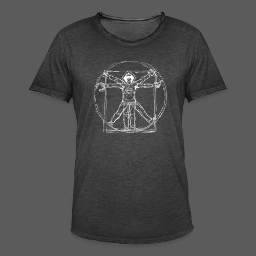 Vitruvian Gamer White Print - Männer Vintage T-Shirt