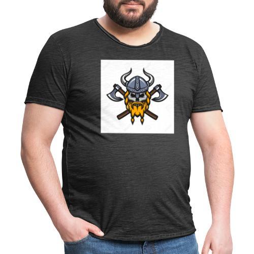 Viking Warrior Skull and Axes badge logo - Men's Vintage T-Shirt