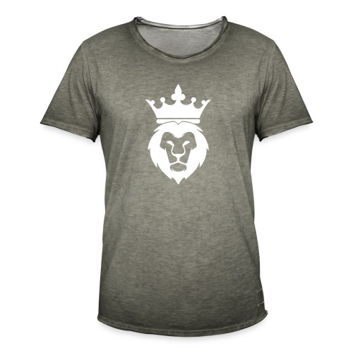 Lion_Logo_with_Crown_St--rre_bild_-white- - Vintage-T-shirt herr
