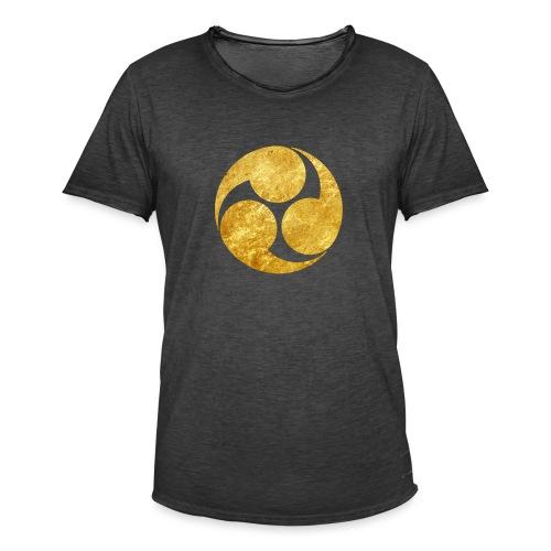 Kobayakawa Mon Japanese clan gold on black - Men's Vintage T-Shirt