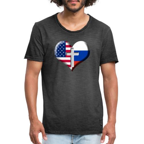 USA and Russia Heart with Cross - Men's Vintage T-Shirt