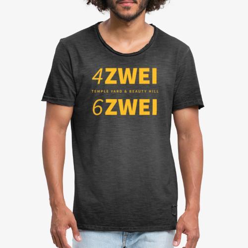 4 zwei 6 zwei // Temple Yard & Beauty Hill - Männer Vintage T-Shirt