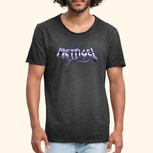 Mettigel T Shirt Design Heavy Metal Schriftzug - Männer Vintage T-Shirt
